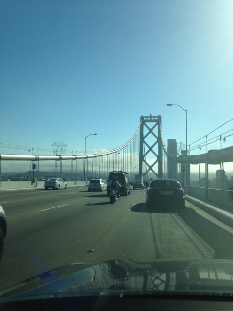 Bay Bridge into foggy San Francisco. Notice the fog bank as I leave Oakland.