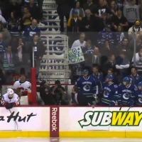 Line Brawl to Start the Game - Canucks - Flames - 2014