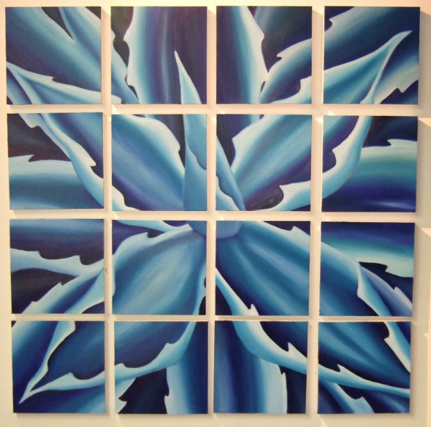 Blue Agave Grid Painting 4 3 x 4 3