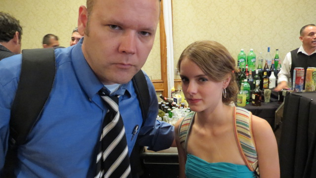 Tony Shea and Laura Wiggins looking serious