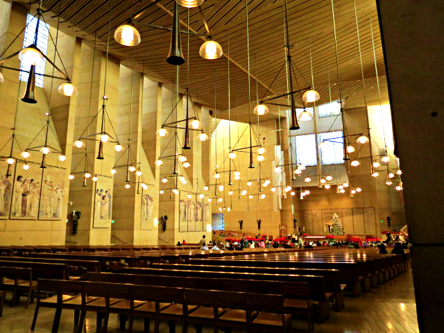 cathederal of our lady of the angels angles los angeles interior long shot christmas eve mass