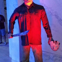 Jason at the horror museum exhibit in the mausoleum