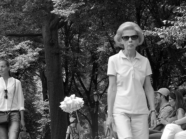 old woman central park bw