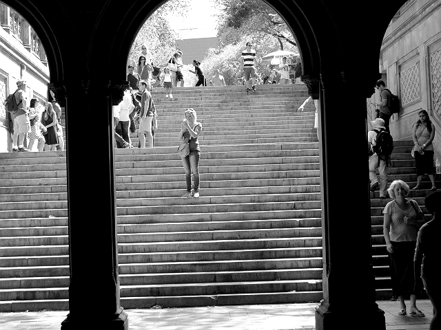 woman on steps central park